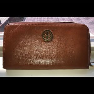 Tory Burch pebbled leather zip around wallet